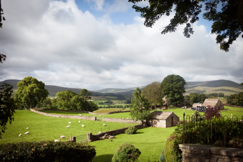 Views of Yorkshire Dales from Simonstone Hall wedding venue