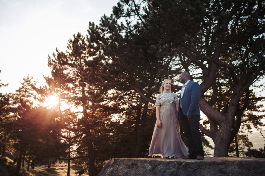 Ilkley moor pre wedding photographer Yorkshire UK | Grey dress at sunset