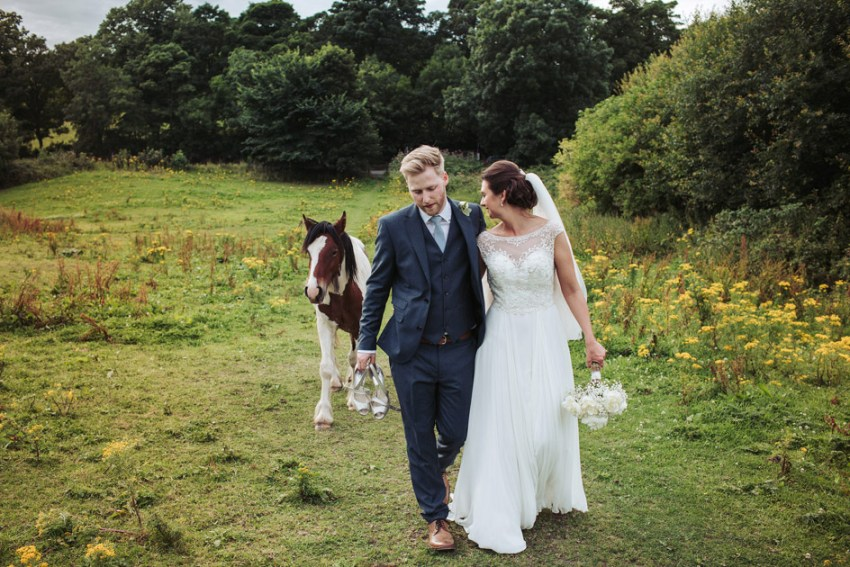 wedding photography Yorkshire UK | country wedding with horse
