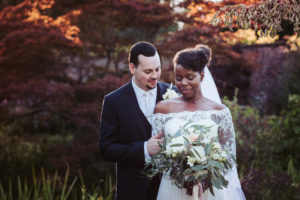 Bride in lace with white bouquet | Saltmarshe Hall wedding photography