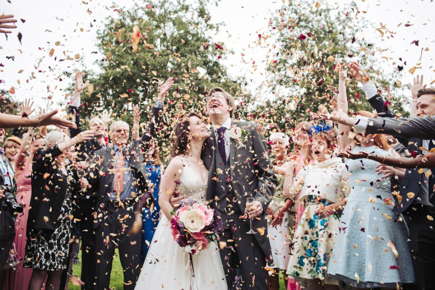 Wedding confetti at Tythe barn | Yorkshire wedding photographer