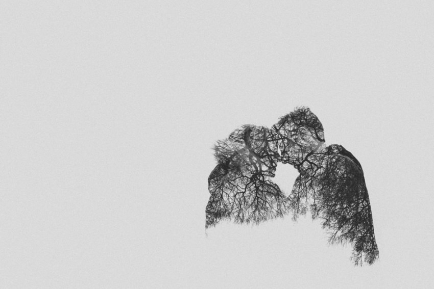 Creative in camera double exposure | natural artistic engagement photography | Yorkshire