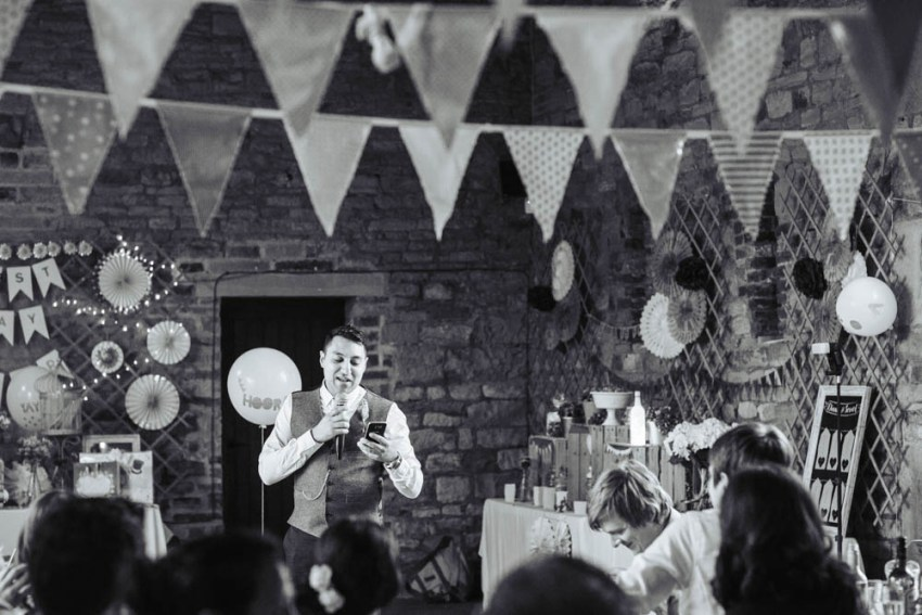 Best man's speech at Oakwell Hall barn in Leeds, Yorkshire | documentary wedding photography
