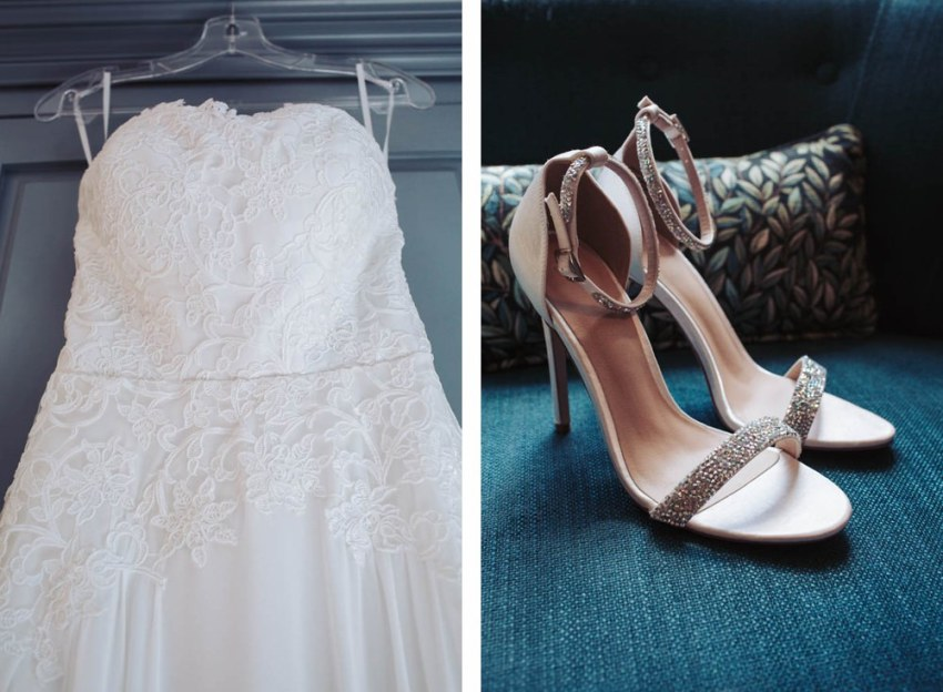 Lace wedding dress detail and sparkly wedding shoes on blue background