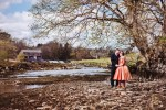 Couple portrait at Linton Falls in Grassington. Natural wedding photography in the Yorkshire Dales. Grassington wedding photography
