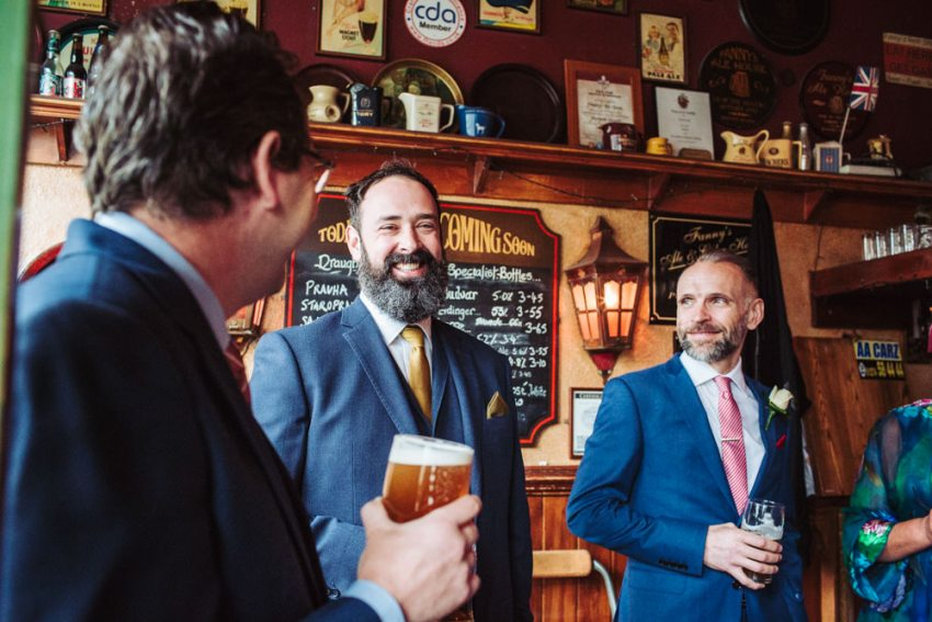 Groom drinking in Fannies Ale house prior to his Victoria Hall wedding.