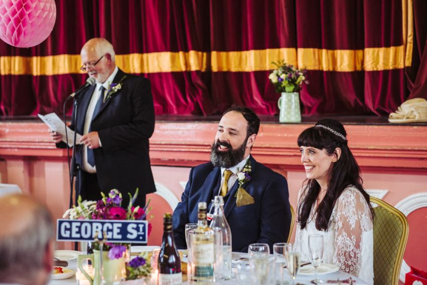 Father of the bride makes his speech at Victoria Hall wedding.
