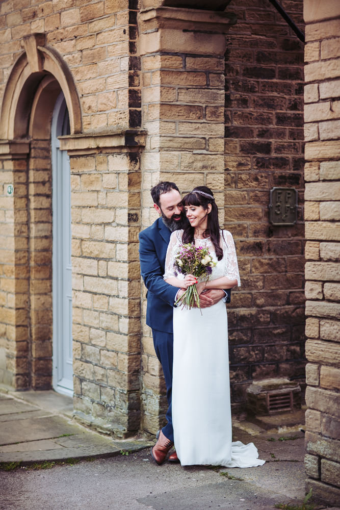 Victoria Hall wedding photographer Yorkshire, Saltaire. Relaxed photography portrait of bride and groom.