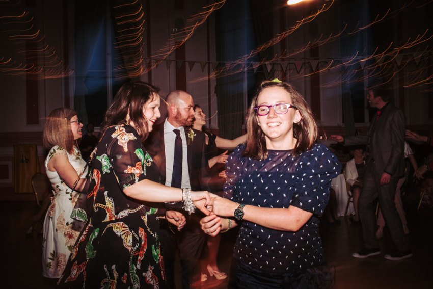 Guests dance to the ceilidh band.