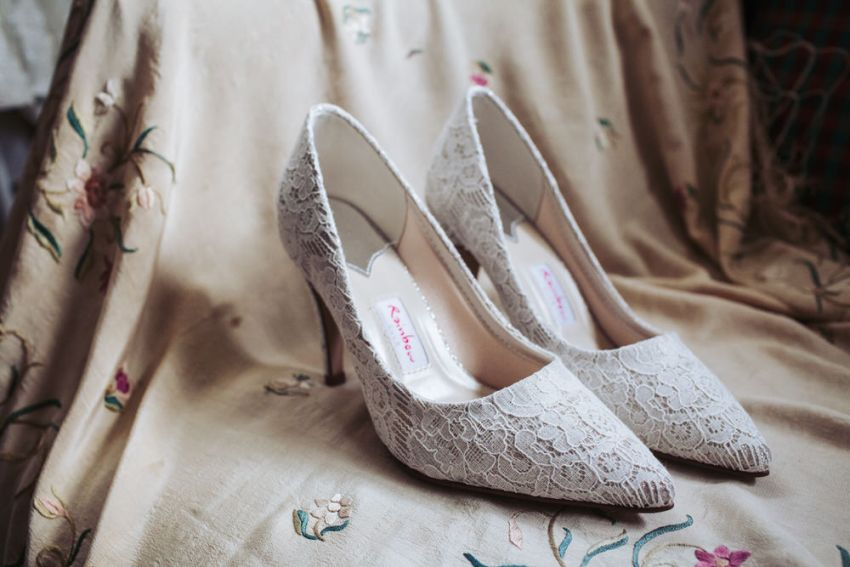 Ivory lace wedding shoes from Rainbow.