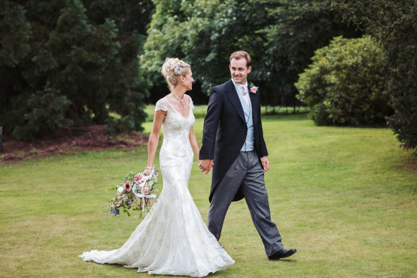 Natural wedding photography by York wedding photographer UK. Bride and groom portrait.