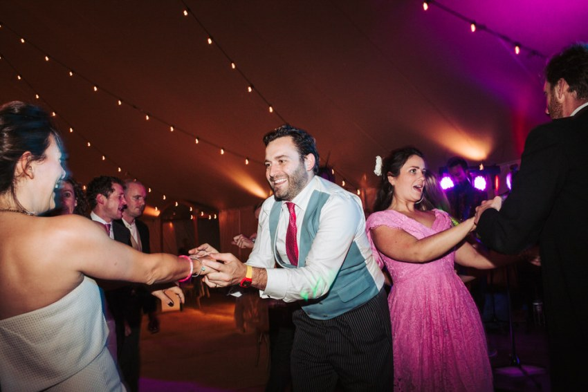 Guests on dance floor at York wedding UK