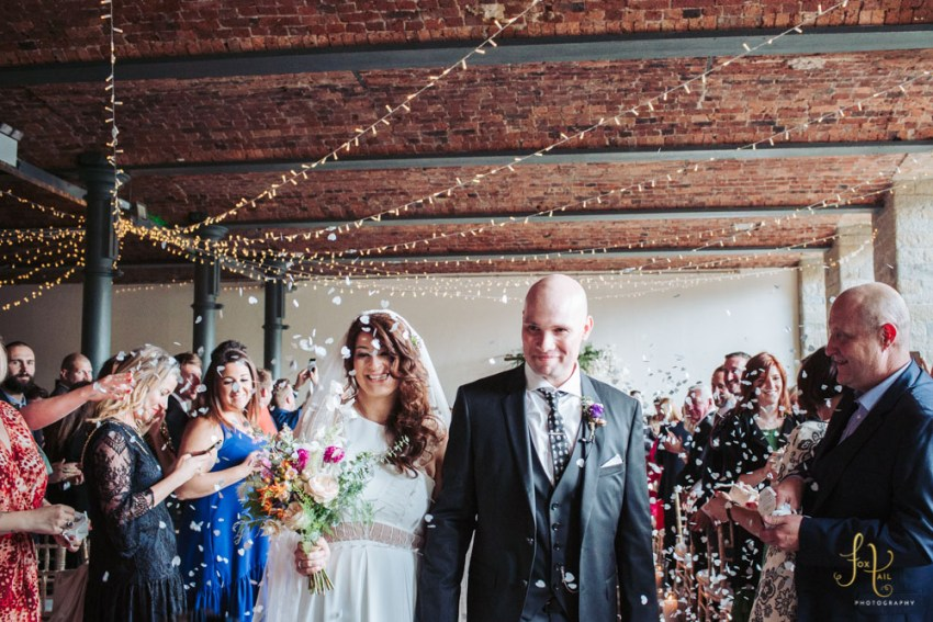 Cool modern Arches industrial mill wedding venue Yorkshire | By UK wedding photographer Fox Tail Photography