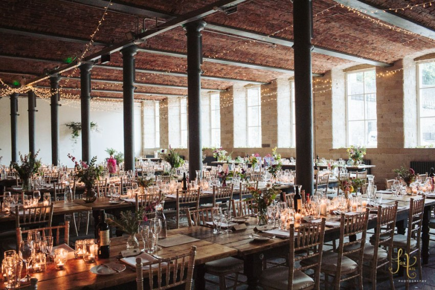 Cool rustic and romantic wedding table layout at the Arches industrial mill wedding venue Yorkshire