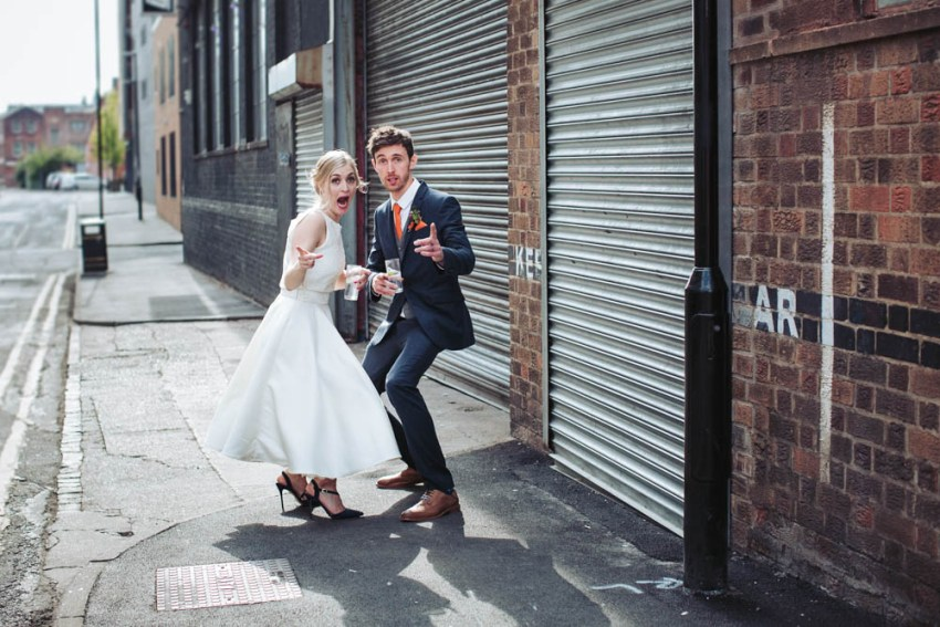 Trafalgar warehouse wedding photography Sheffield Yorkshire. Bride and groom in urban city setting.