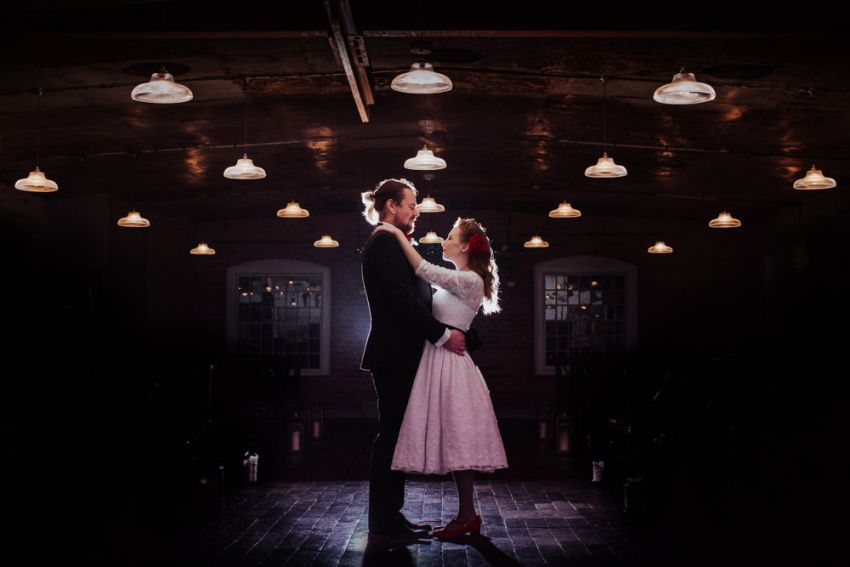Rockabilly styled bride and groom portrait. West Mill wedding photography Derby