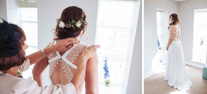 Bride getting ready, wearing her Rembro Styling Byork dress.