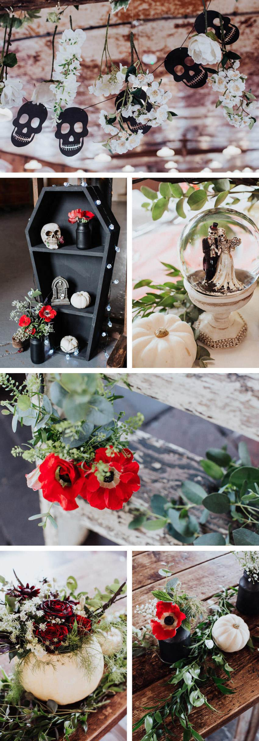 Halloween wedding decorations. Skull bunting, skeleton bride and groom snow globe, flower filled pumpkins with red roses and poppy's.
