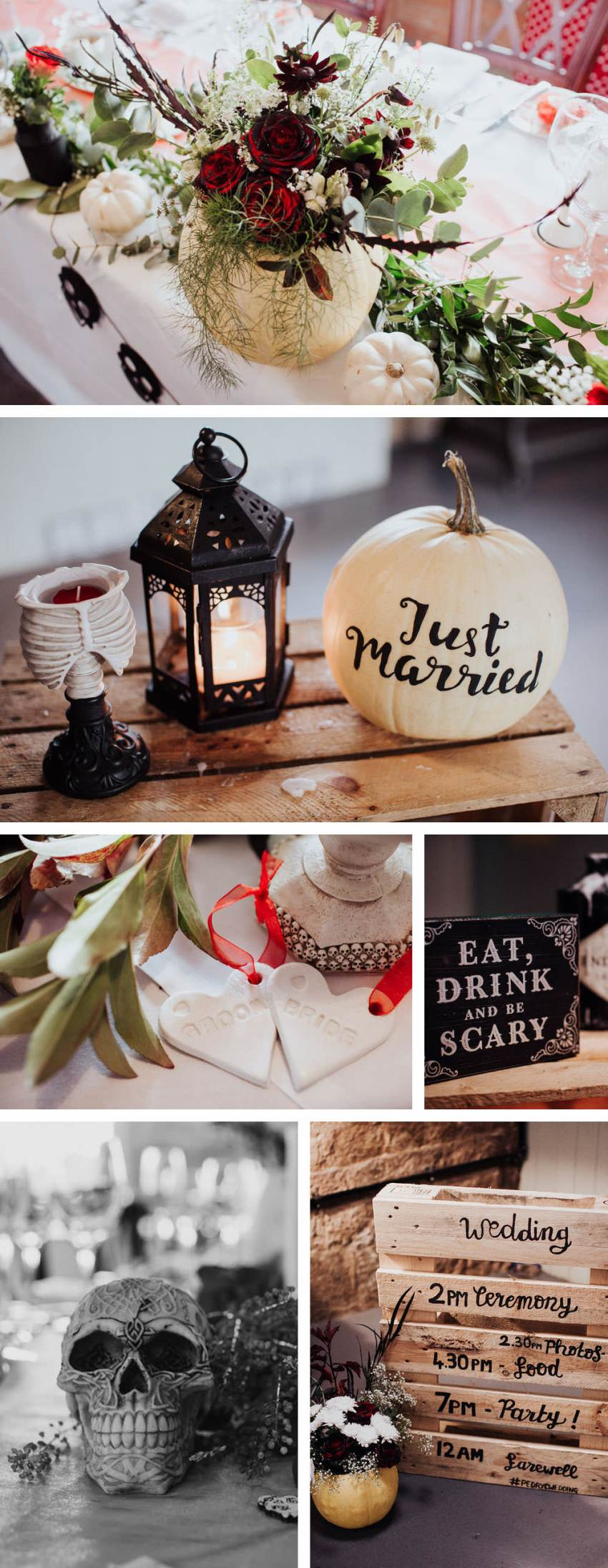 Halloween wedding decorations. Painted 'just married' text on pumpkin and flowers in a pumpkin.