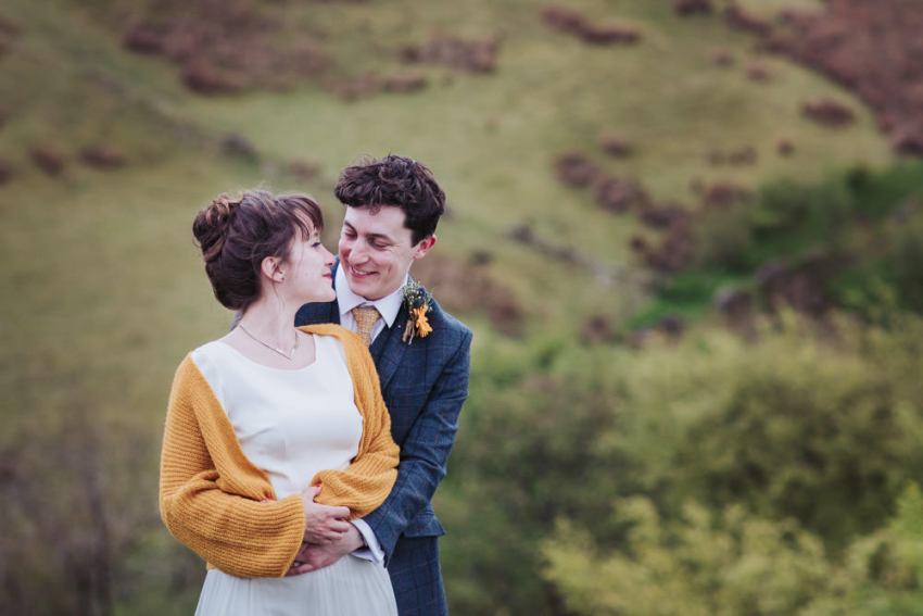 Standedge Tunnel wedding by Huddersfield wedding photographer, bride and groom on moors.