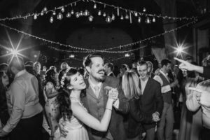 Bride and grooms first dance with friends.