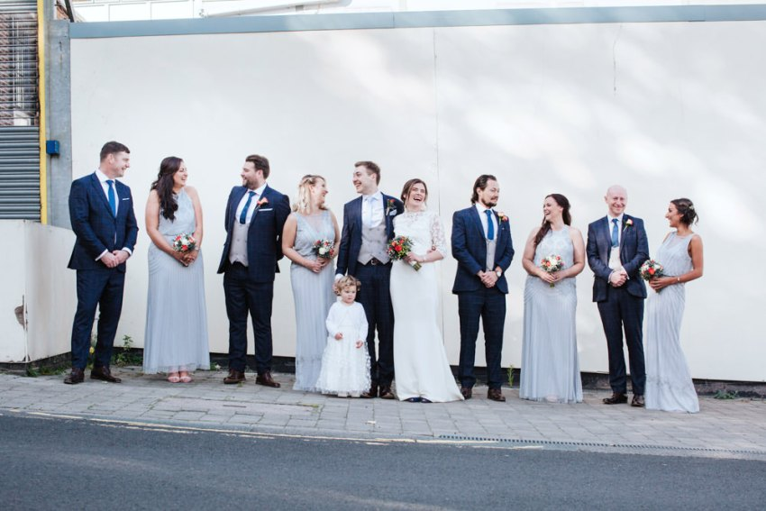 Biscuit Factory wedding photography, Newcastle. Bridal party group photo.