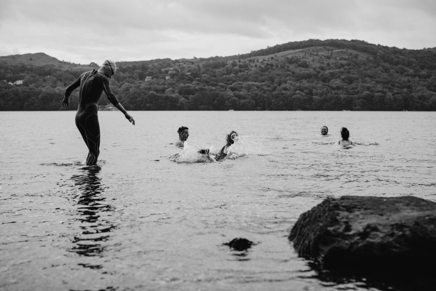 The bride and friends early morning swim in Windermere.