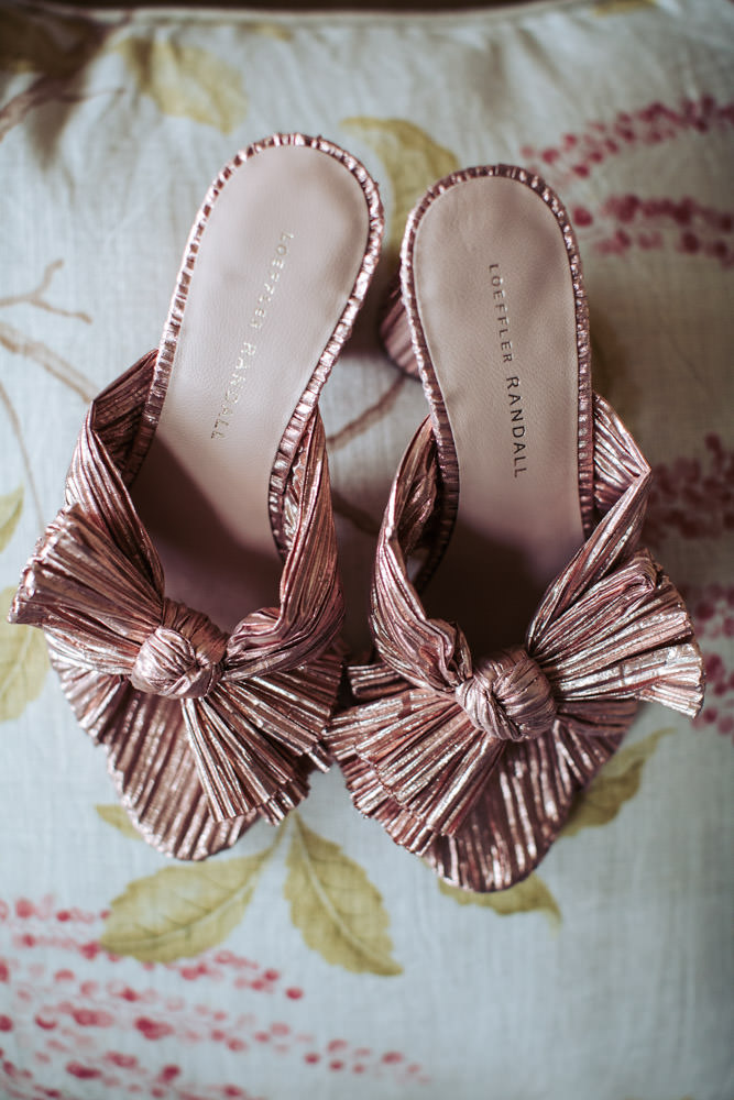Rose gold Loeffler Randal wedding shoes with bow.