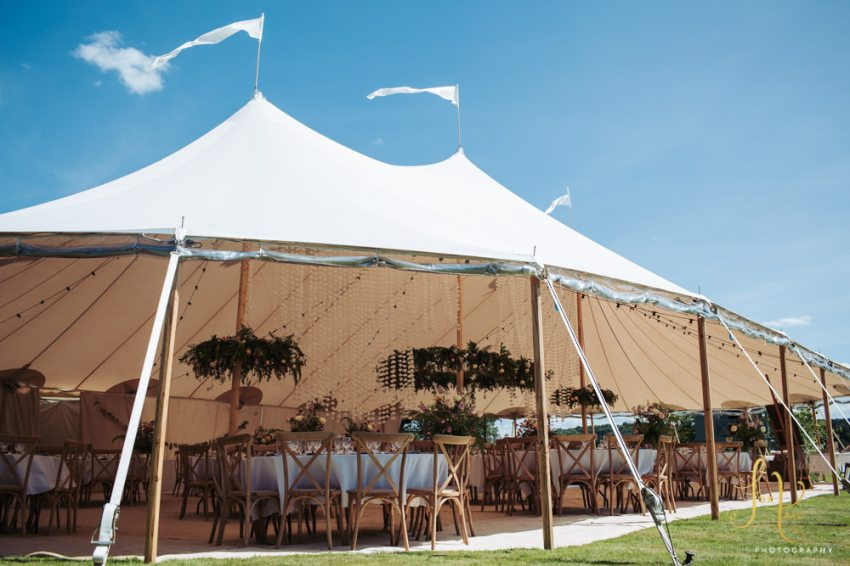 Papakata sperry tent wedding marquee in the gardens of Rudge Hall.