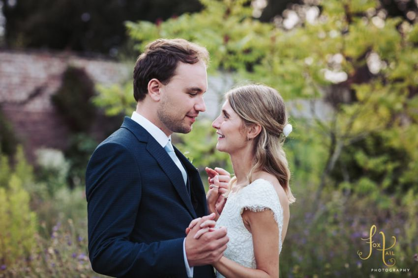 Fig House Middleton Lodge wedding. Bride and groom portrait in the walled garden.
