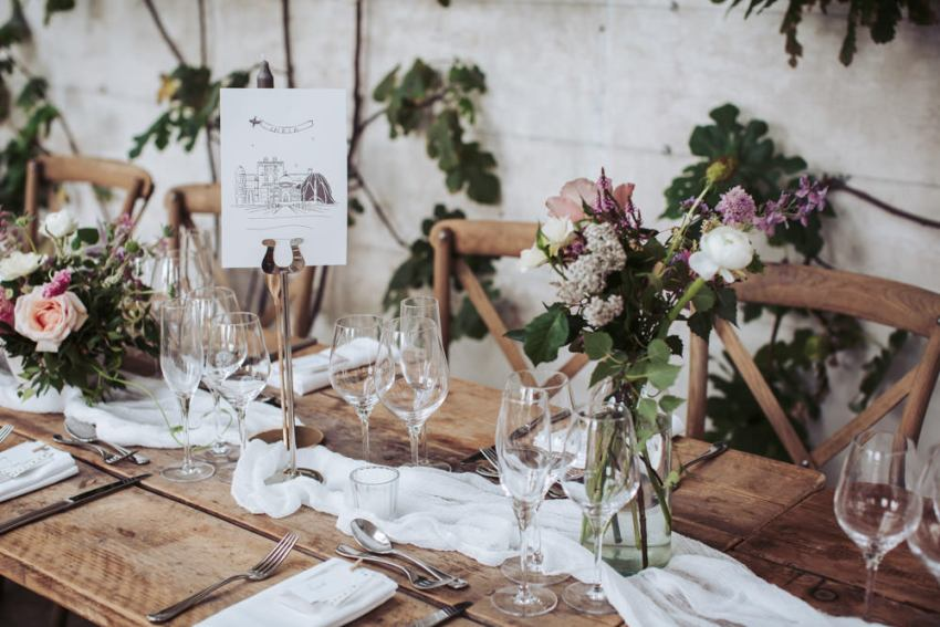 Lucy MacNicoll floral design decorate a wedding table at Fig House wedding, Middleton Lodge.