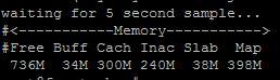 collectl -sm -c1 -i5