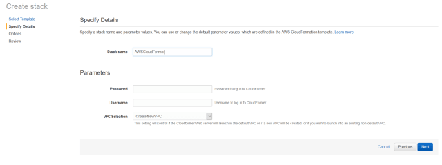 specify details cloudformer