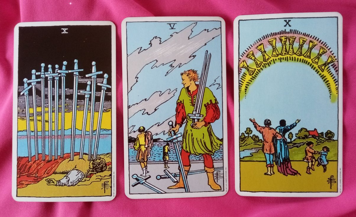 daily online tarot reading cards: 10 of Swords, 5 of Swords and 10 of Cups