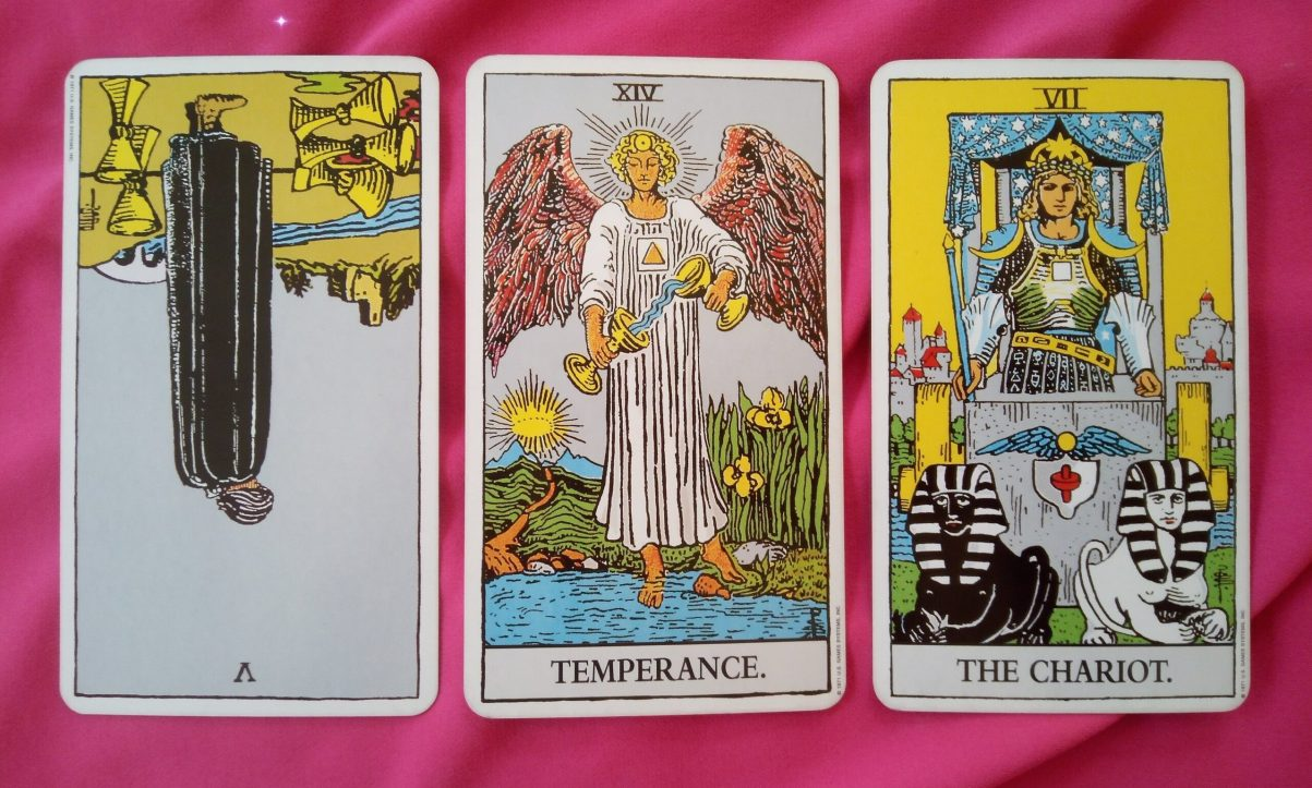 daily online soul purpose tarot reading cards: 5 of Cups reversed, Temperance, The Chariot