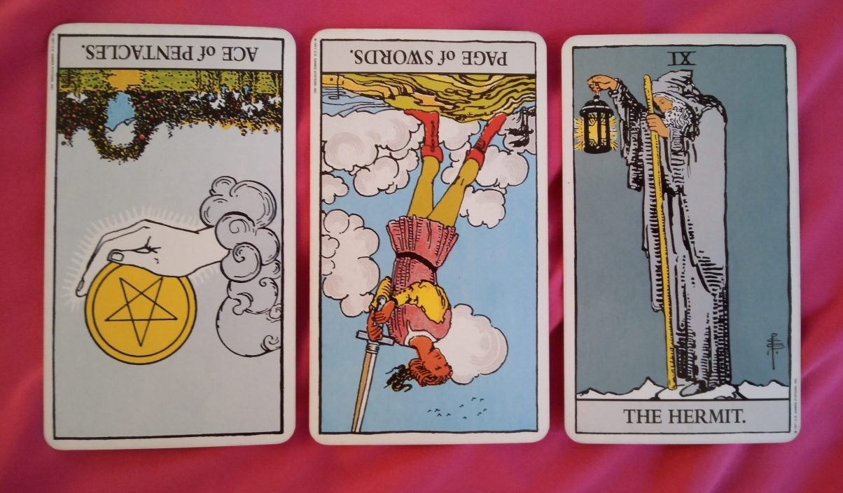 daily online soul purpose tarot reading cards: Ace of Pentacles reversed, Page of Swords reversed, The Hermit