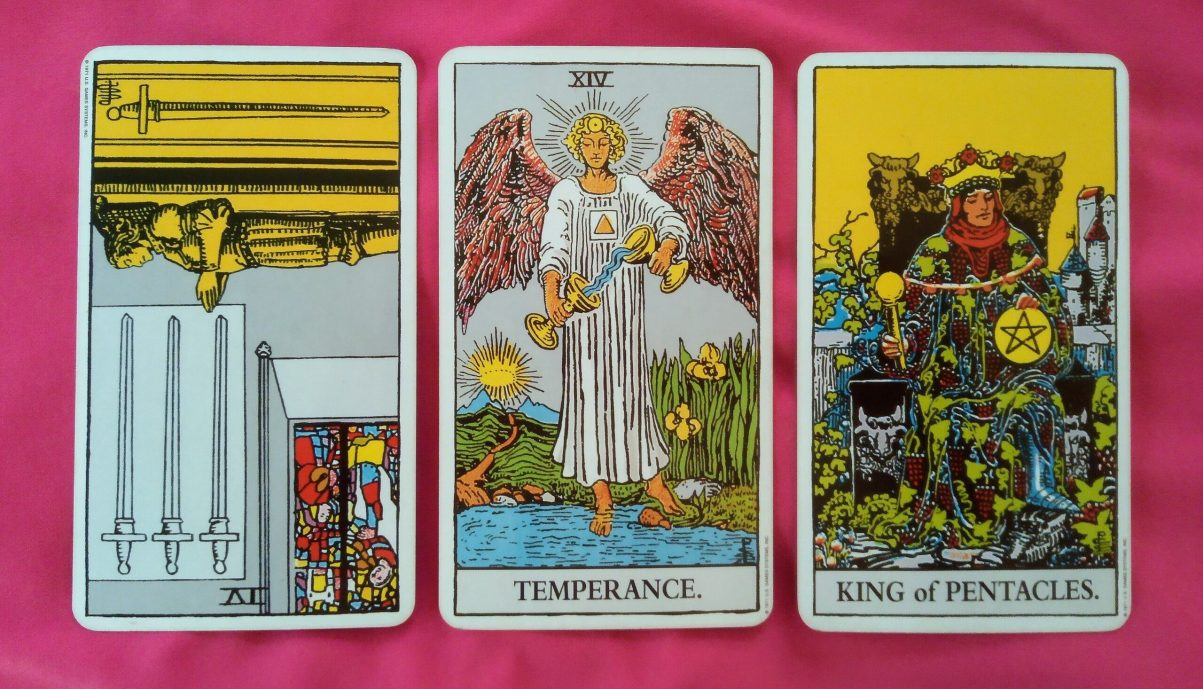 Weekly Online Soul Purpose Tarot Reading cards: 4 of Swords reversed, Temperance and King of Pentacles