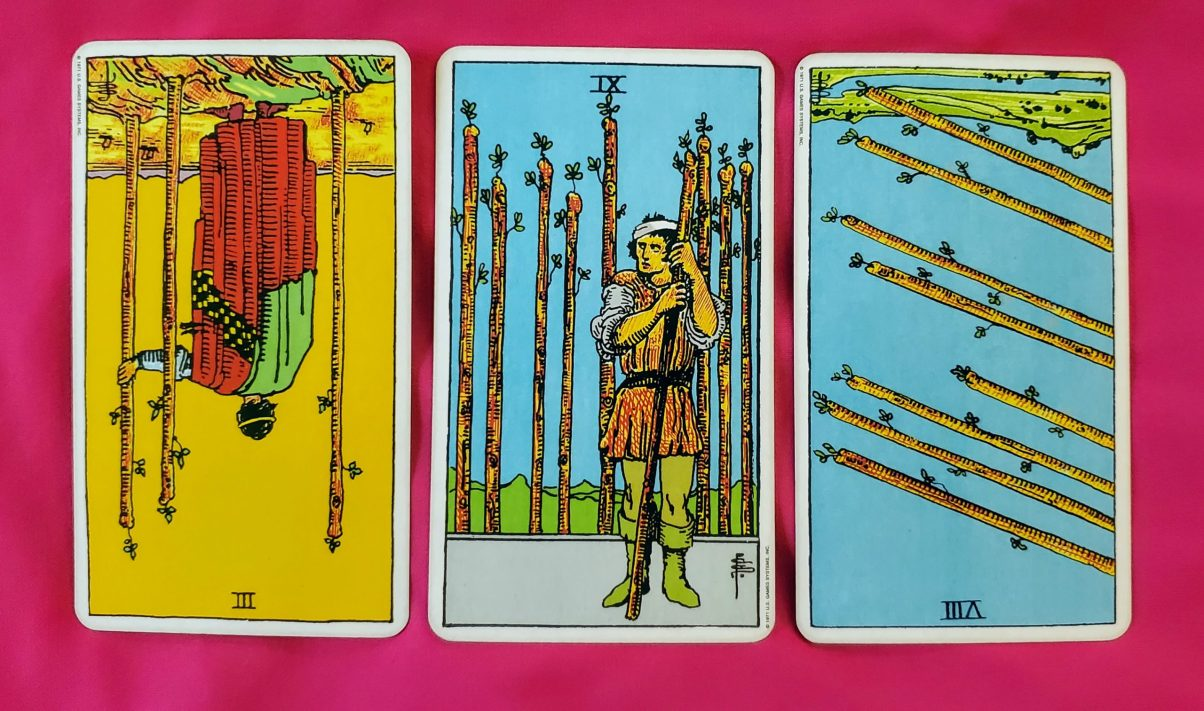 weekly online soul purpose tarot reading cards: 3 of Wands reversed, 9 of Wands, 8 of Wands reversed