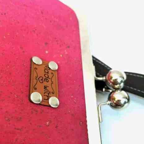 prachtige beugel tas roze kurk detail