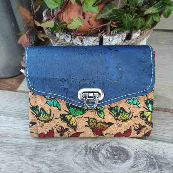 Kleine kurk portemonnee blauw met prachtige vlinders