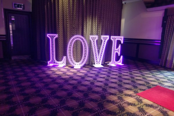 4ft love letters hire in lilac