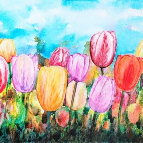 Beata_Jakubek_Canadian Tulips_2019_Acrylic_12x24x1.5_$265