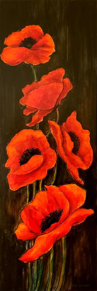 Beata_Jakubek_Red Poppies_2019_Acrylic_36x12x1.5_$285