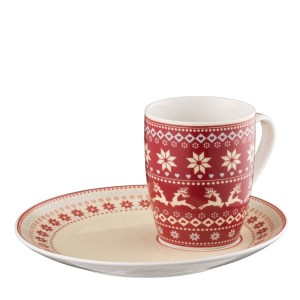 Belleek Aynsley Fairisle Mug & Tray Set