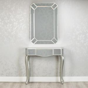REFLECTIONS CONSOLE AND MIRROR SET WITH CURVED LEG
