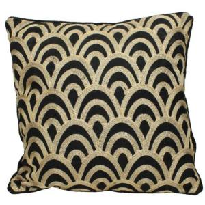 Black Cushion With Golden Pattern