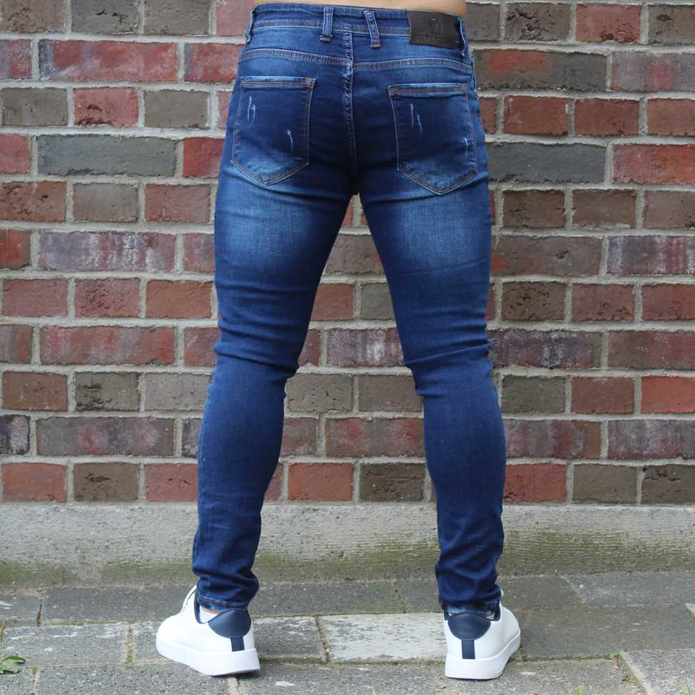 Destroyed Jeans Slim Fit Dark Blue 2