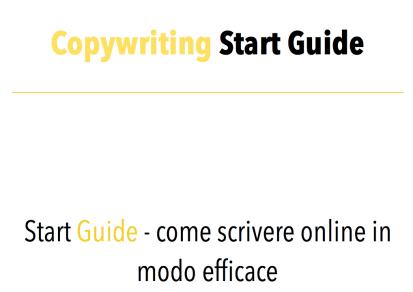 Copywriting Start Guide