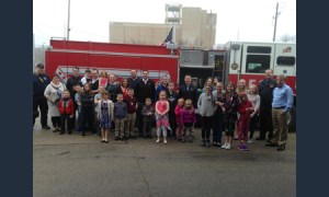 church members by fire truck image
