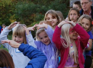 young kids dancing at fall festival